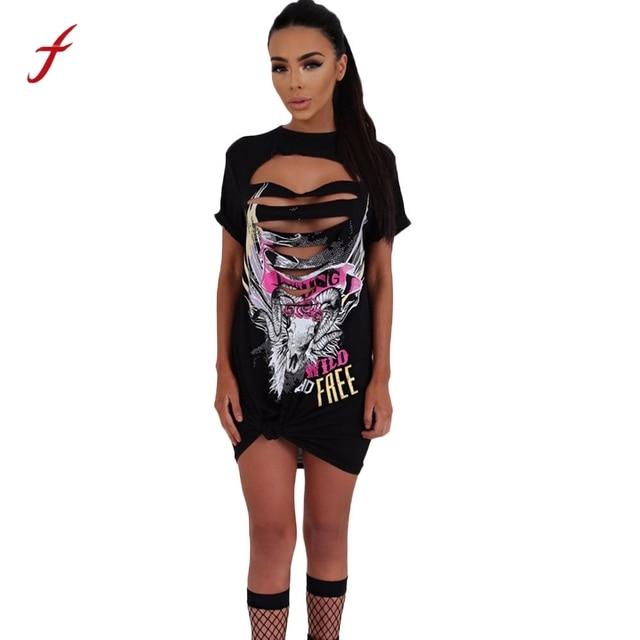 41d634256d63 Feitong Fashion Punk Rock Style Women Dress Summer Sexy Hollow Hole Short  Sleeve Club Tops T Shirt Mini Dress vestidos femininos