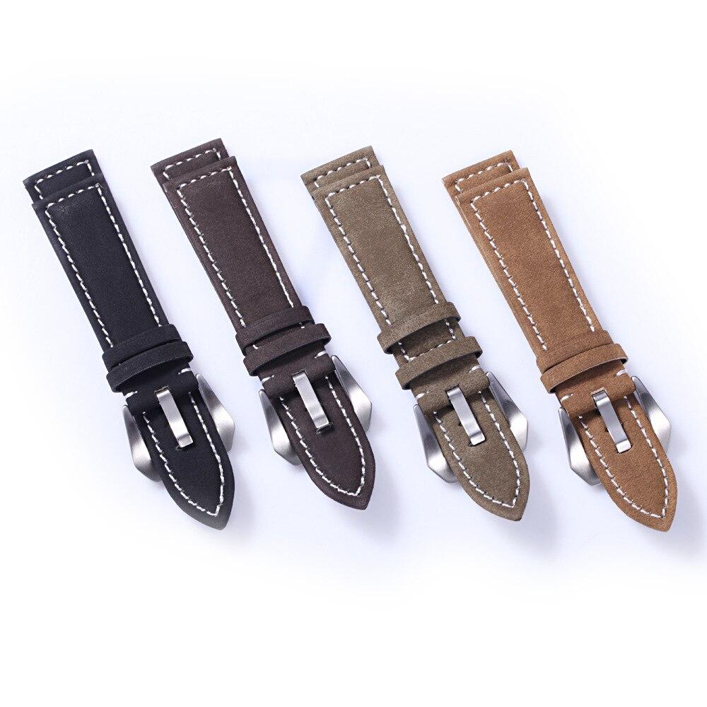 купить 2017 new 1PCS watchband strap 20MM 22MM 24MM 18MM genuine leather Crazy horse leather Watch band watch strap man watch straps по цене 271.85 рублей