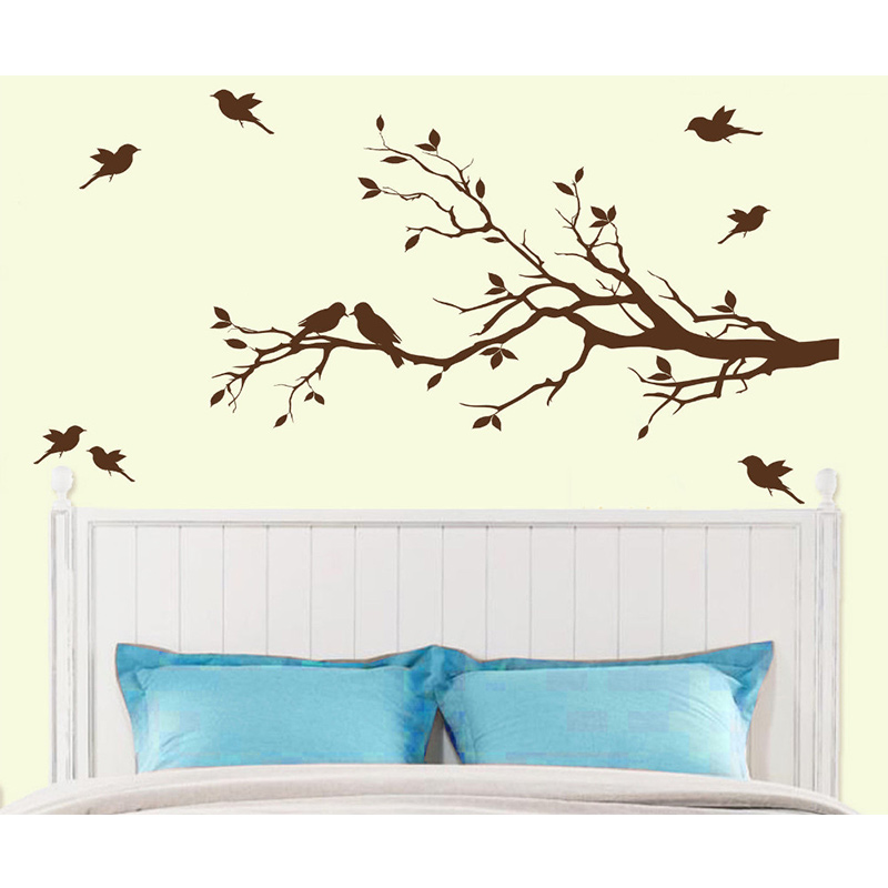 Free Shipping Tree Branch with 10 birds Wall Decal Deco Art Sticker Mural 58inX28in
