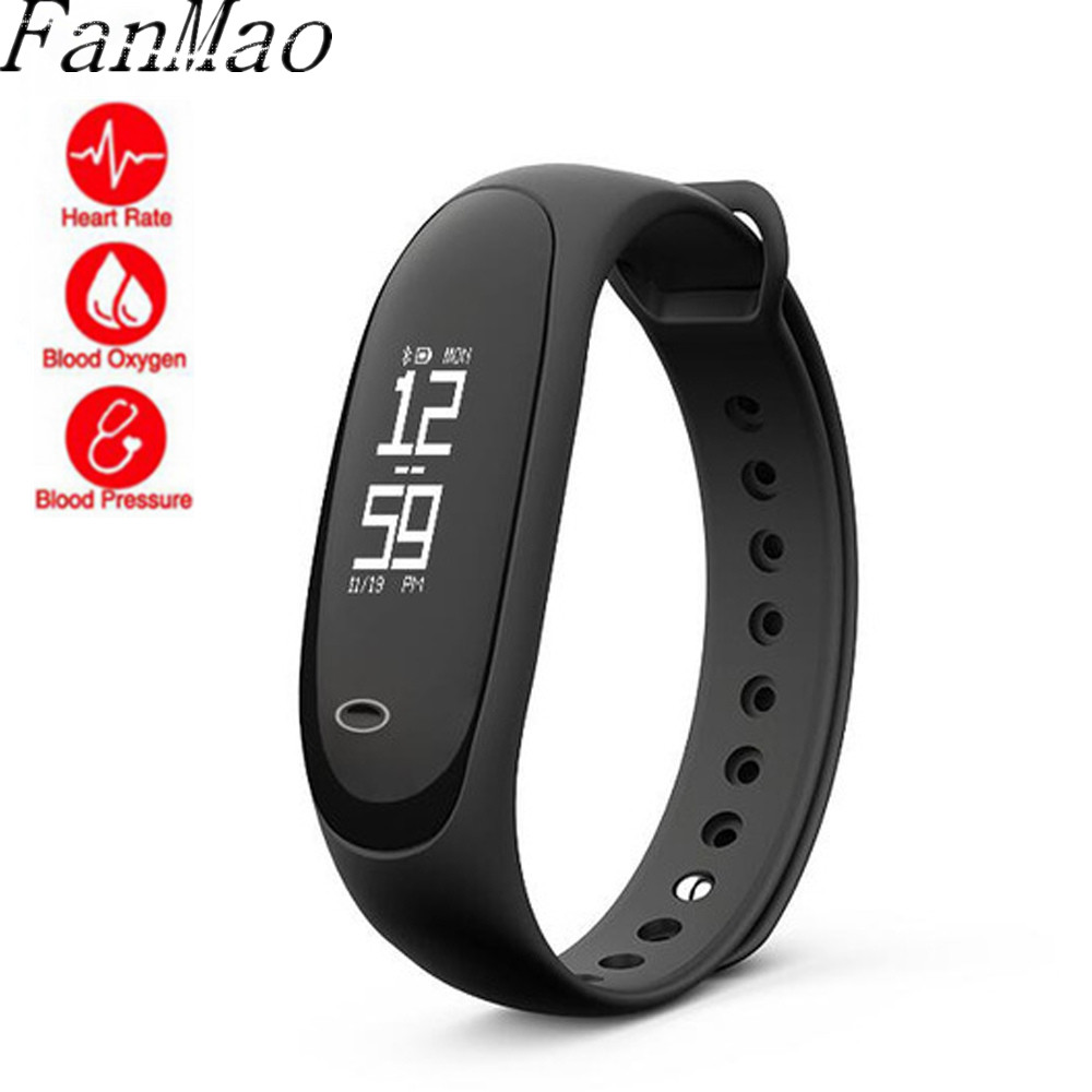 FanMao NEW Smart Fitness Bracelet Heart Rate Blood Pressure Monitor Health Wristband Sports Pedometer Smart Band