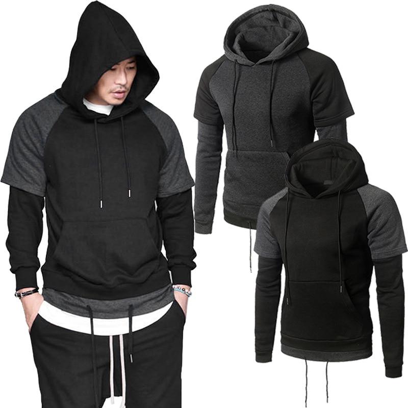 Black Patchwork Hooded Sweatshirts Solid Japanese Youth Hoodies Men Clothing Anime Causal Pullover Sweatshirt moletom com capuz