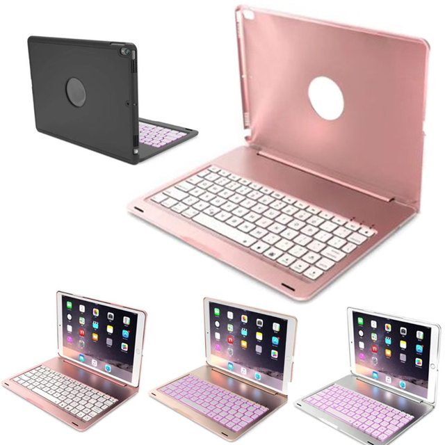 e8c28ae5a91 For iPad pro 10.5inch Bluetooth Wireless Keyboard Case Cover with 7 Color  Backlit Aluminum Cases