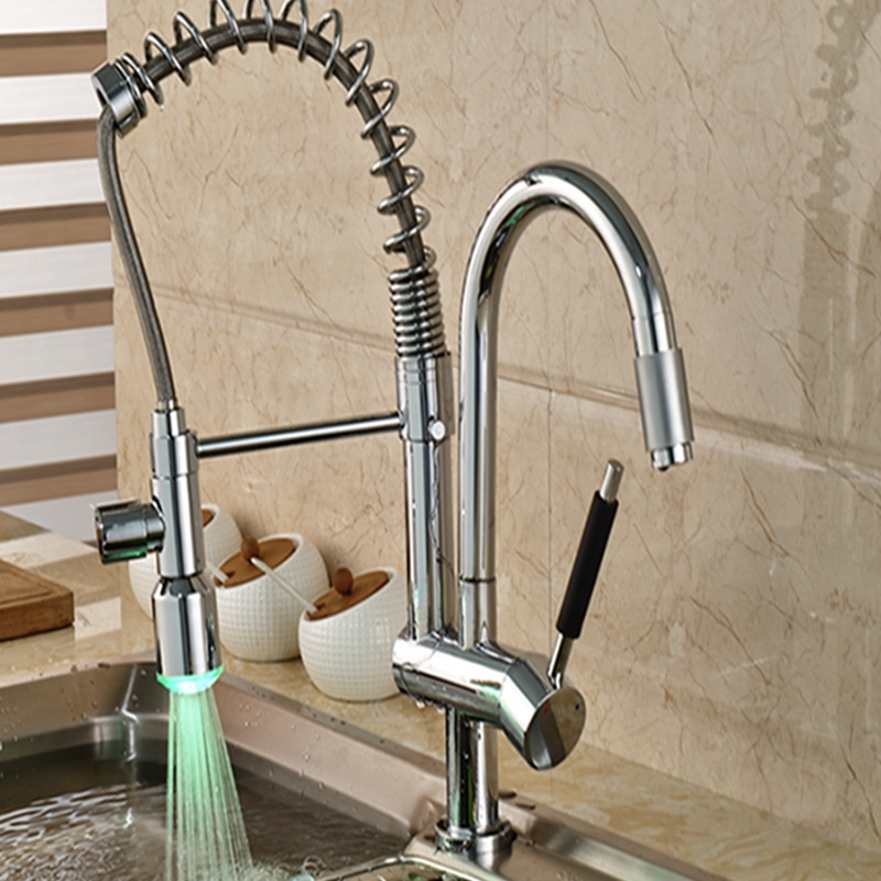 Wholesale And Retail Luxury LED Spout Kitchen Mixer Tap Spring Solid Brass Vanity Sink Mixer Tap Chrome Finish good quality wholesale and retail chrome finished pull out spring kitchen faucet swivel spout vessel sink mixer tap lk 9907