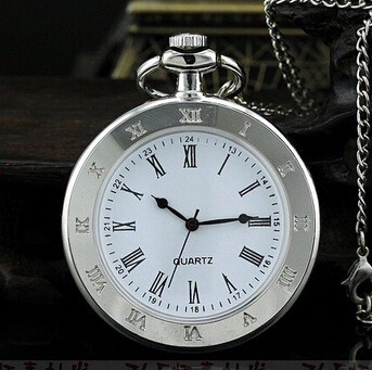 Vintage White Dial Roman Number Steel White Pocket Watch Simple Style Pendant Watches With 80cm Chain