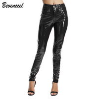BEVENCCEL Winter PU Leather Pants Women Sexy Latex Pant Streetwear With Cotton Trousers