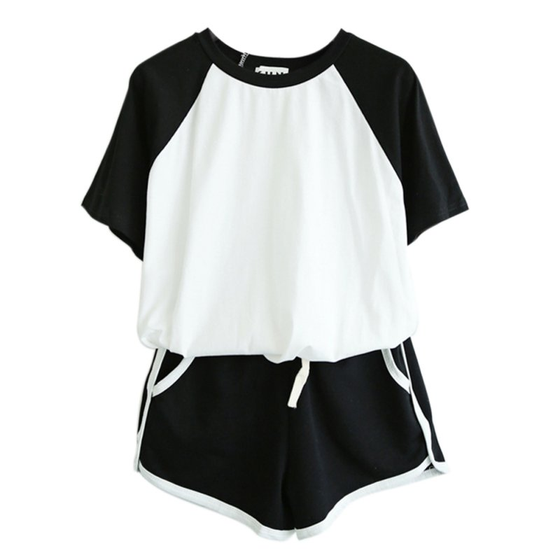 2 Pcs/Sets Tracksuit Summer Short Sleeve O Neck T-shirt For Women Spring Shorts Suits Female Casual Sets