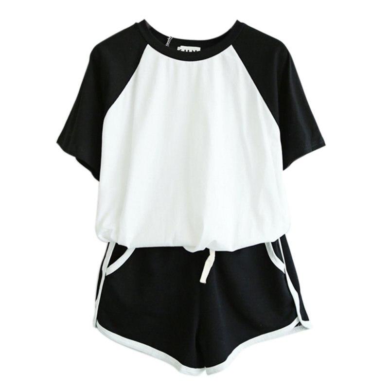 2 adet/takım Eşofman Yaz Kısa Kollu O Boyun T-shirt Kadınlar Için Bahar Şort Takım Elbise Kadın Rahat Setleri