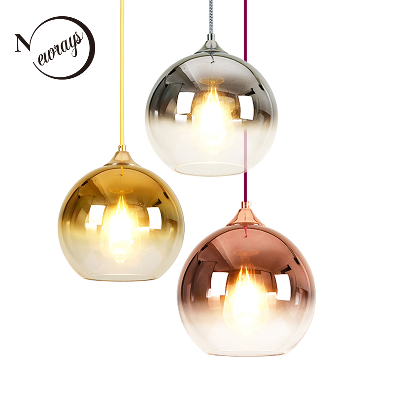Modern industrial creative ball glass pendant E27 LED pendant lights for dining room living room bedroom restaurant hotel room creative design modern glass ball pendant lights lamps for dining room living room bar 96 265v e27 edison bulb wpl116