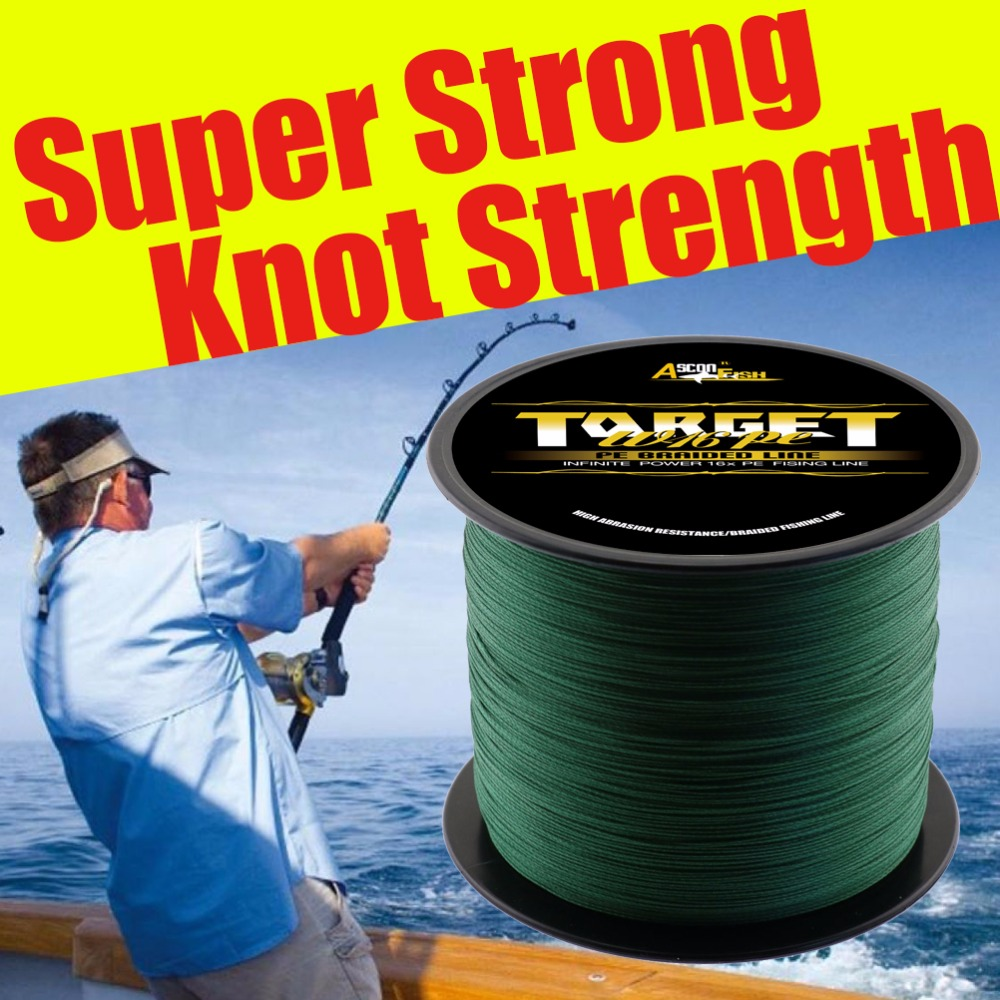 Ascon Fish 16 Strands Braided Fishing Line 1500m Full Length Multifilament Line for Cord Fishing Carp PE Rope 20-300LB