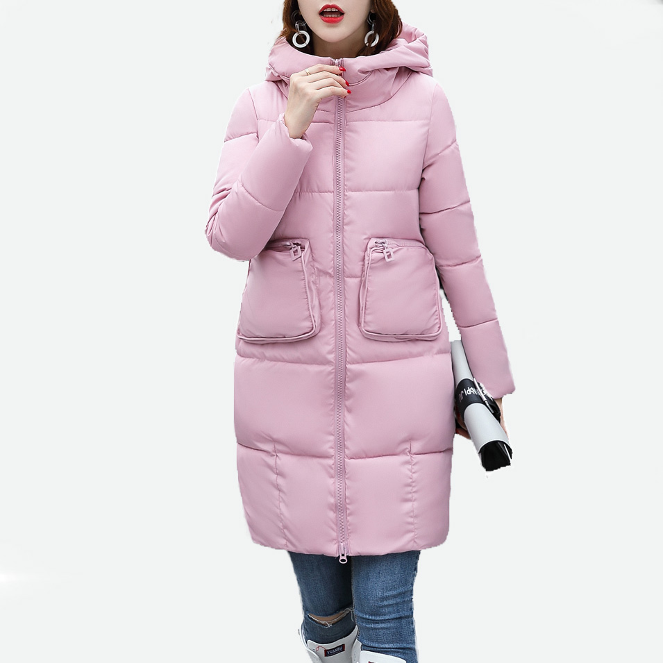 women winter coat female medium-long cotton-padded jacket all-match women's wadded jacket with a hood outerwear coats 2015 new mori girl medium long thickening with a hood color block decoration cotton padded jacket wadded jacket