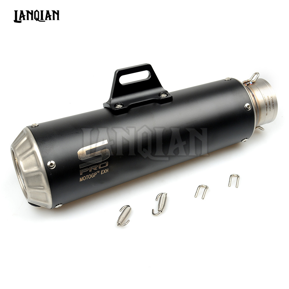Universal Laser SC Motorcycle Exhaust Muffler Modified Stainless Steel Exhaust Pipe For Kawasaki ER6N ZX6R Ninja 250 Z800 Z750  high quality stainless steel motorcycle exhaust modified muffler pipe for kawasaki z750 zr750