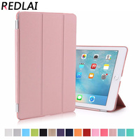 PU Leather Magnetic Sleep Wake Up Mode Plastic Matte Transparent Back Smart Case For IPad Pro