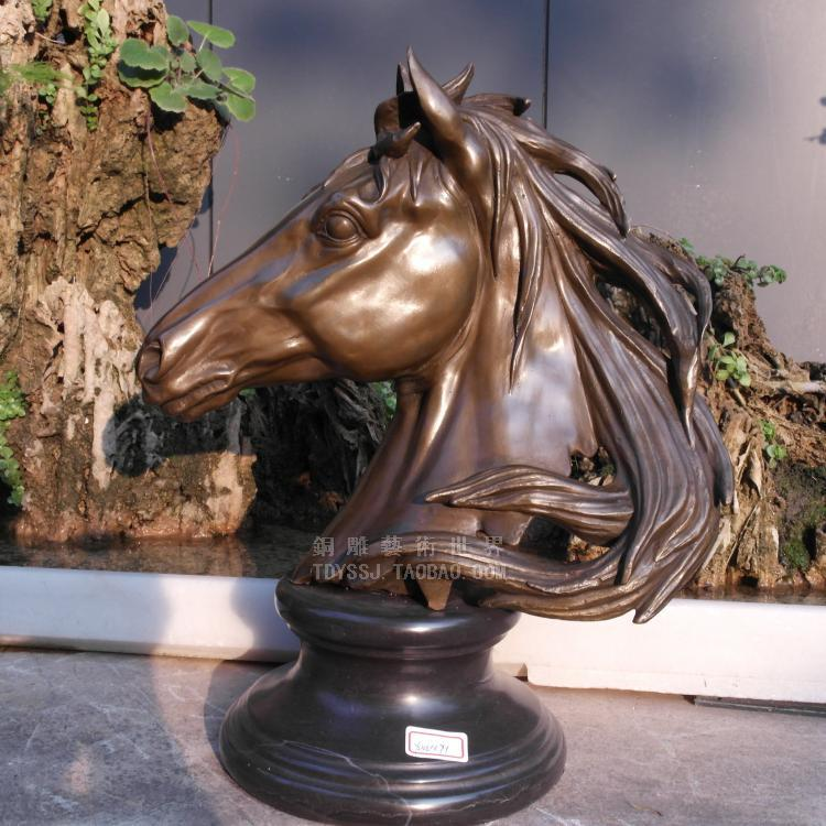 Old antique BRASS Arts & Crafts Gangnam horse sculpture decoration copper sculpture craf ...