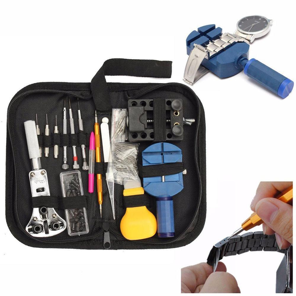 144 pièces outils de Table de réparation outils de montre horloge Kit d'outils de réparation ouvreur lien Pin dissolvant ensemble printemps barre horloger outils