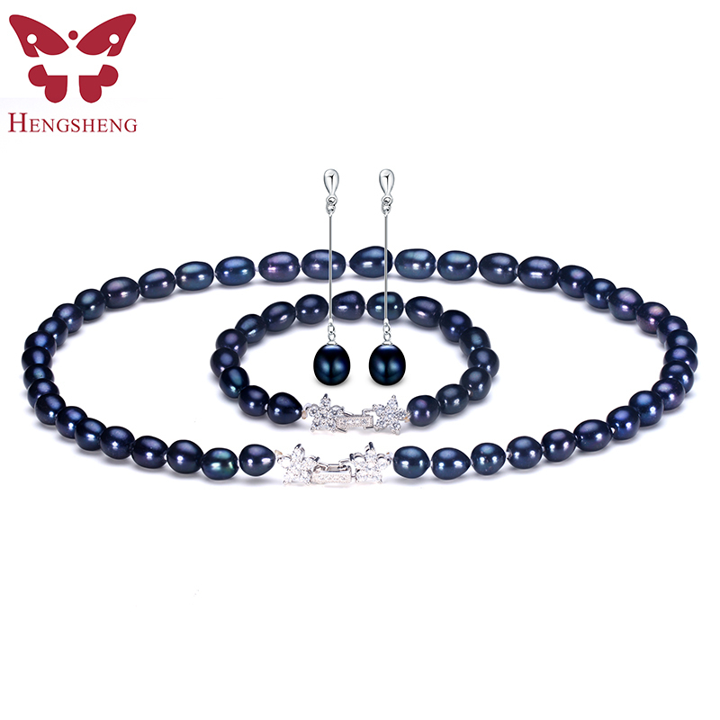 Natural Black Pearl Jewelry Sets For Women,Fashion Jewelry Dangle Earrings&Bracelet&Necklace,Rice Shape 8-9mm Pearl Star Zircon a suit of graceful faux pearl flower shape necklace and earrings jewelry for women