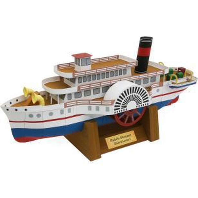 3D Paper Model Space Library Papercraft Cardboard House For Children Paper Toys Paddle Steam Engine Ship Colorful