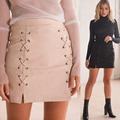 High waist women fashion faux leather suede lace-up bandage sexy mini skirt side split slim pencil skirt femme bodycon skirt