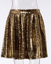Summer Fashion Women Mini Gold Sequins Skirt High Waist Sparkling Pleated Shiny Skirts Party Club A-line Short Skirt Gold black fashion sequins embellished mini skirt