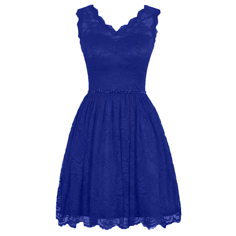 New Arrival Royal Blue Burgundy Black Short   Cocktail   Party   Dresses   V-neck Lace Beaded Sashes Above Knee Length   Cocktail     Dresses