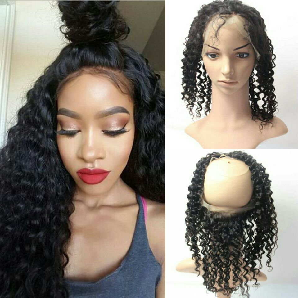 Pre Plucked 360 Lace Frontal Closure Curly Lace Frontal With Baby Hair  Natural Hairline Brazilian Deep Wave 360 Lace Virgin Hair 8d0b31db04d1