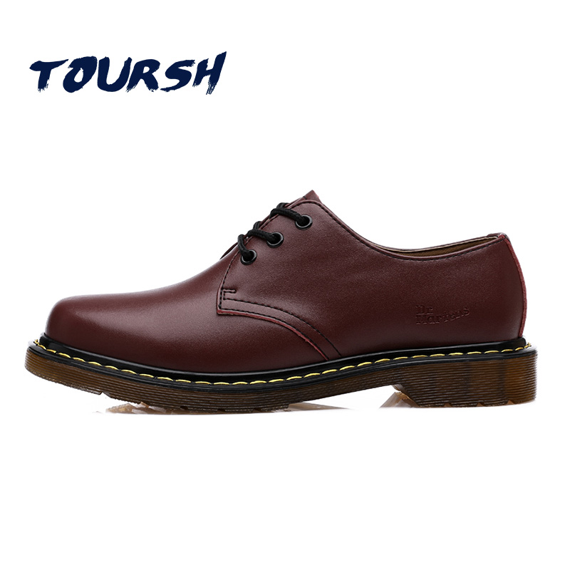 TOURSH Luxury Genuine Leather Women Shoes Brogue Lace Up Platform Fashion Women Flats Casual Female Shoes Black Brown Red Plus42 2017 women genuine leather brogue flats shoes patent leather lace up pointed toe luxury brand red blue black pink creepers