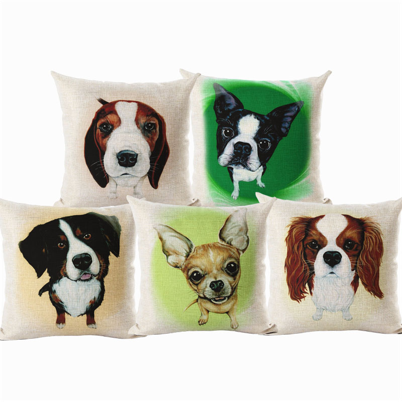 Bullterrier Cushion Covers Big Head Dog Soft Linen Material Pillow Cases For Kids Baby Girl Boy Bedroom Decorative Cushion Cover