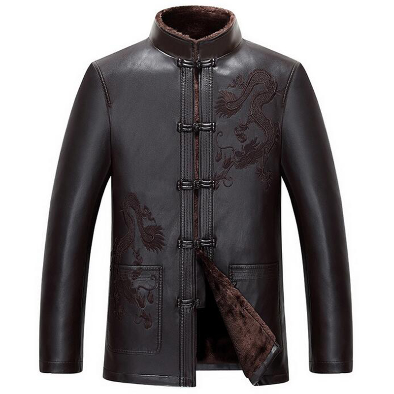 Vintage Chinese Brand Mens Leather Jackets Overcoat 3XL Plus Size Luxury Brand Designer  ...
