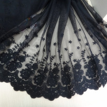 1 yards wholesale freeshipping!!  Diy accessories black lace decoration 100% cotton embroidery net flower--wide:22cm