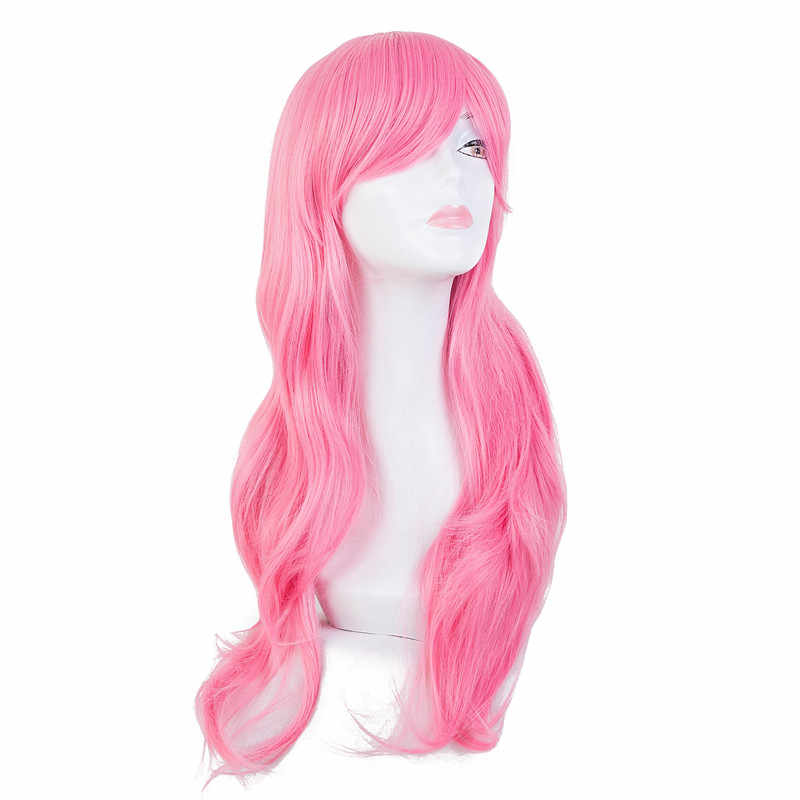 Pink Wig Fei-Show Synthetic Heat Resistant Long Wavy Inclined Bangs Hair Cartoon Costume Halloween Carnival Cos-play Hairpieces