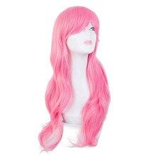 Розовый парик Fei-Show синтетические термостойкие длинные волнистые наклонные челки для костюмированной вечеринки на Хэллоуин Карнавал коспл...