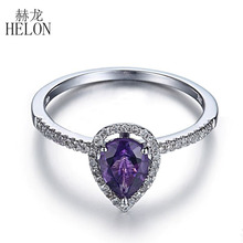 Здесь можно купить  HELONG Solid 10K White Gold 7x5mm Pear Amethyst Pave Natural Diamond Engagement Wedding Ring Exquisite Women