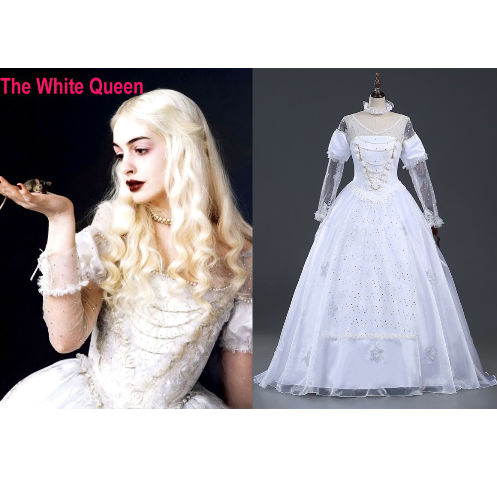 White apron alice wonderland costume - Hero Catcher High Quality Cusotm Made The White Queen Cosplay Costume Alice In Wonderland White Queen