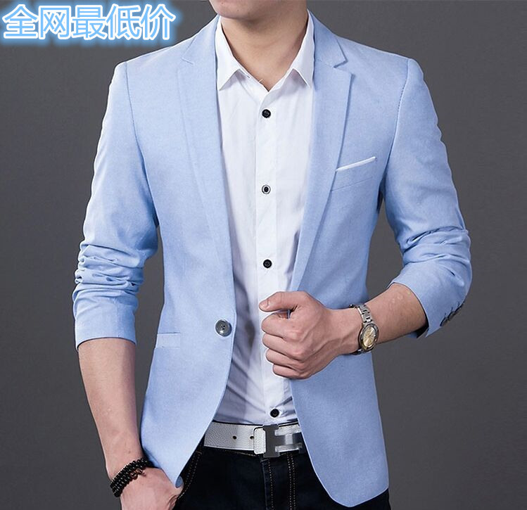 The New 2019 Male Light Blue Small Blazer Cultivate One's Morality Leisure Blazer Thin Model
