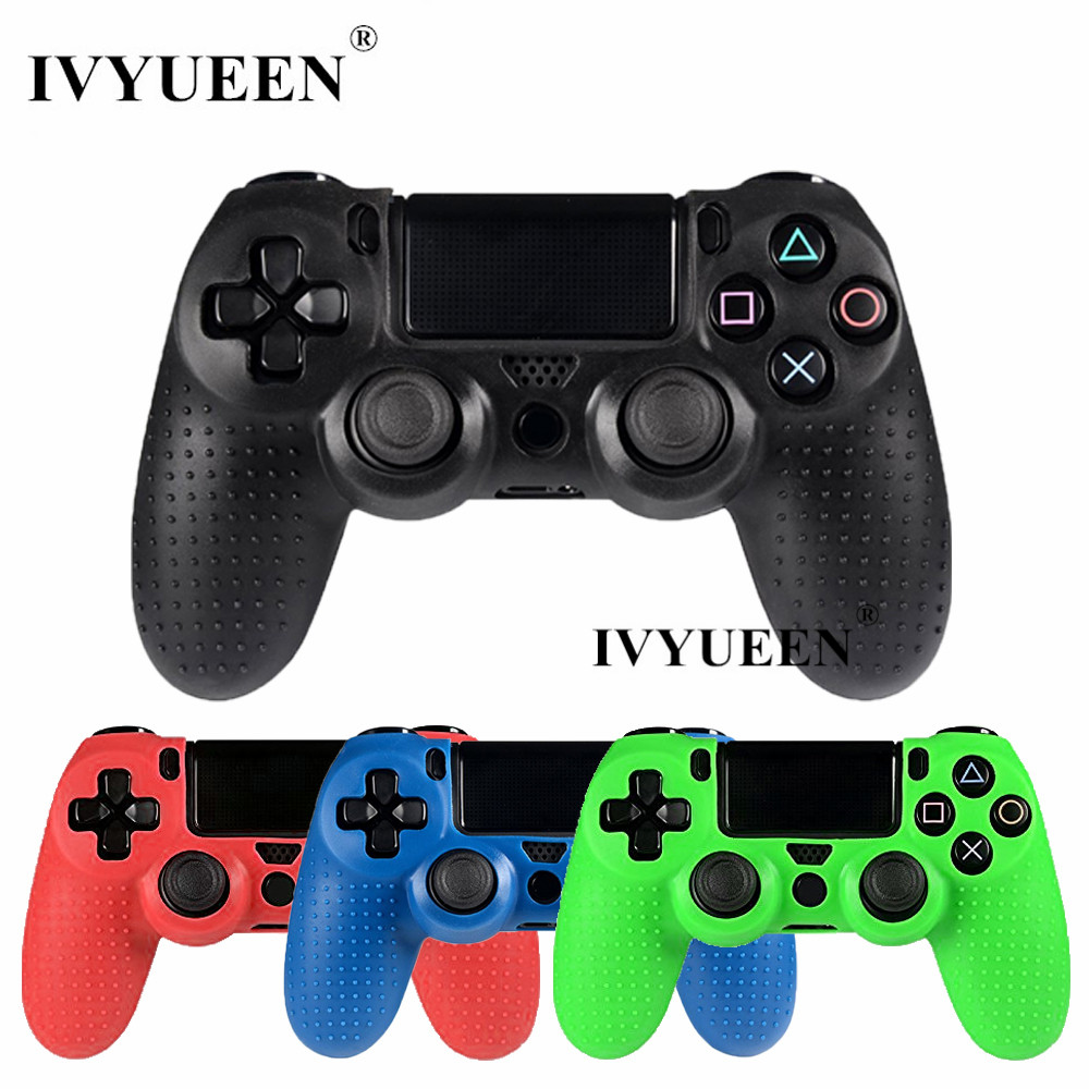 IVYUEEN Anti-slip Silicone Case for Play Station Dualshock 4 PS4 Pro Slim Controller Cover Skin with Analog Thumb Stick Grip Cap