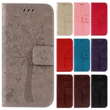 3D Tree Phone Cases for LG K3 K4 K5 K8 LTE Luxury Wallet Flip Leather Stand Cover for LG K 3 4 5 8 Cartoon Cat Coque Card Solts