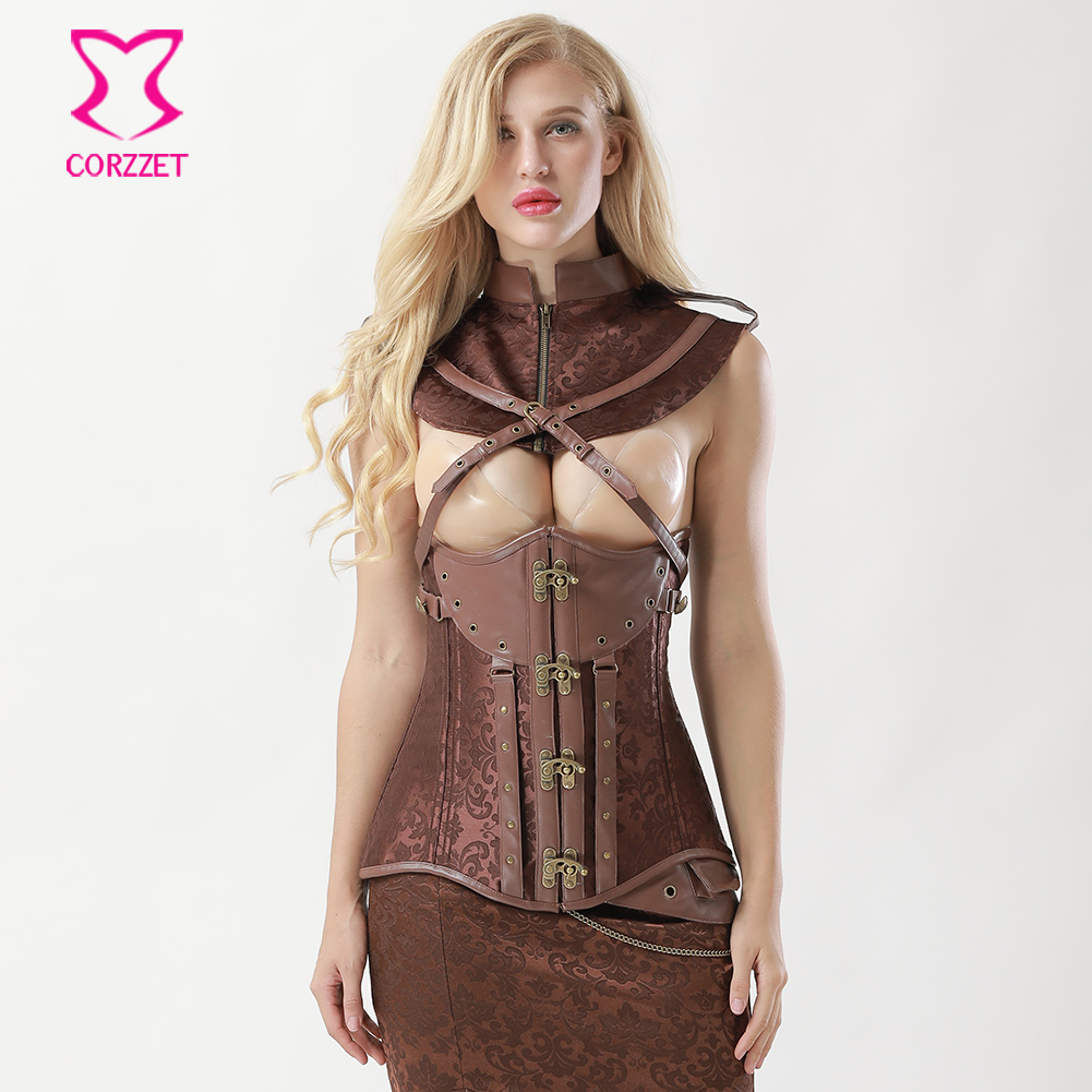 Brown Brocade Sexy Cupless Long Underbust   Corsets   and   Bustiers   Steampunk   Corset   Jacket Collar Bolero Set Cosplay Gothic Clothing
