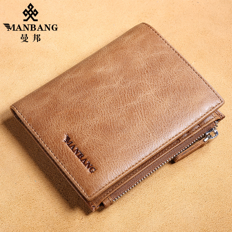 ФОТО 2017 New Manbang Luxury men wallets Big capacity Genuine cowhide Korean style fashion thin purse MBQ1441