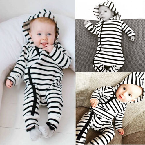 Emmababy 0-24M Newborn Baby Rompers Long Sleeve Striped Unisex Zipper Baby Clothes Hooded Jumpsuts Autumn Fits