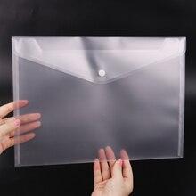 1 шт. офисный А4 файл мешок прозрачный пластик утолщаются кнопка закрытия папка для хранения продуктов офисные школьные принадлежности