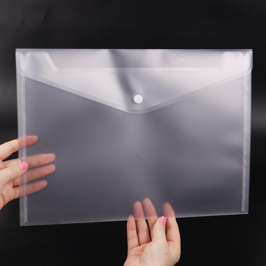 1 шт. офисные A4 файл мешок прозрачный Пластик Сгущает Кнопка папка на застежке систематизация продуктов Офис Школьные принадлежности