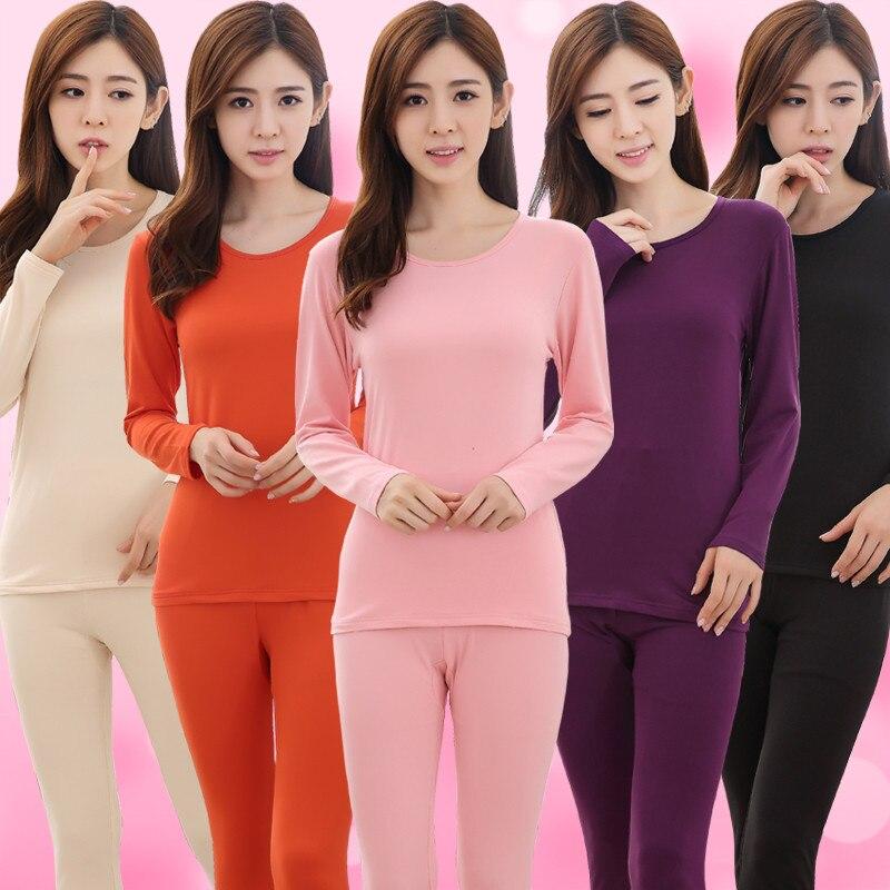 2018 Seamless Breathable Warm Long Sexy Ladies Slim Thin Velvet Underwears Sets Bottoming Women Tunic Winter Thermal Underwears