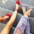 Moda 2016 Marca Sexy Tassel Mulheres Bombas Dedo Do Pé Apontado Saltos Altos sapatas Das Mulheres Sapatos de Festa Mulher Das Senhoras Do Dedo Do Pé Aberto Ata acima Sandálias