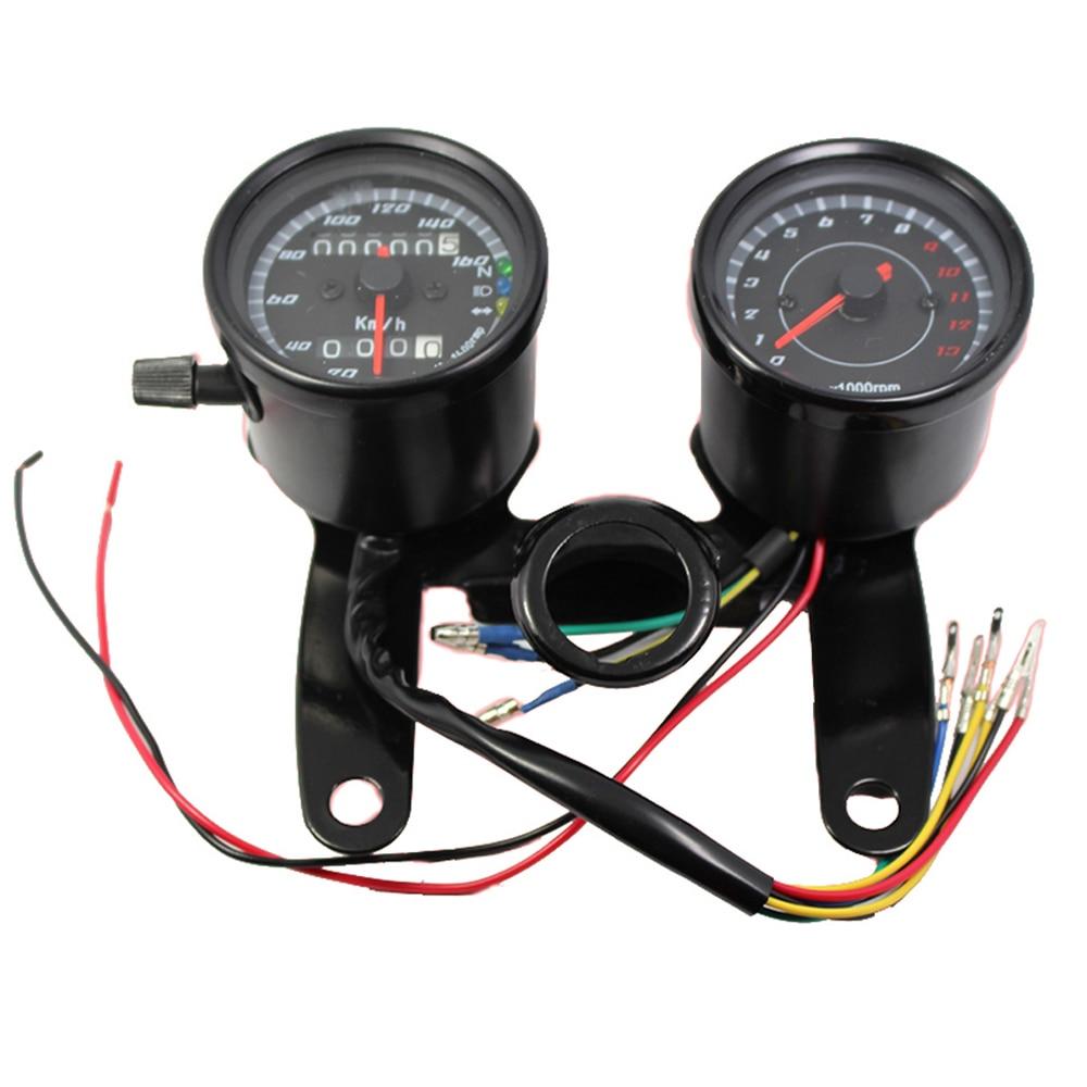 Universal Motorcykel Speedometer Odometer Mätare 0 ~ 160km / h 13000 RPM LED Bakgrundsbelysning Tachometer Set Black Silver Instrument