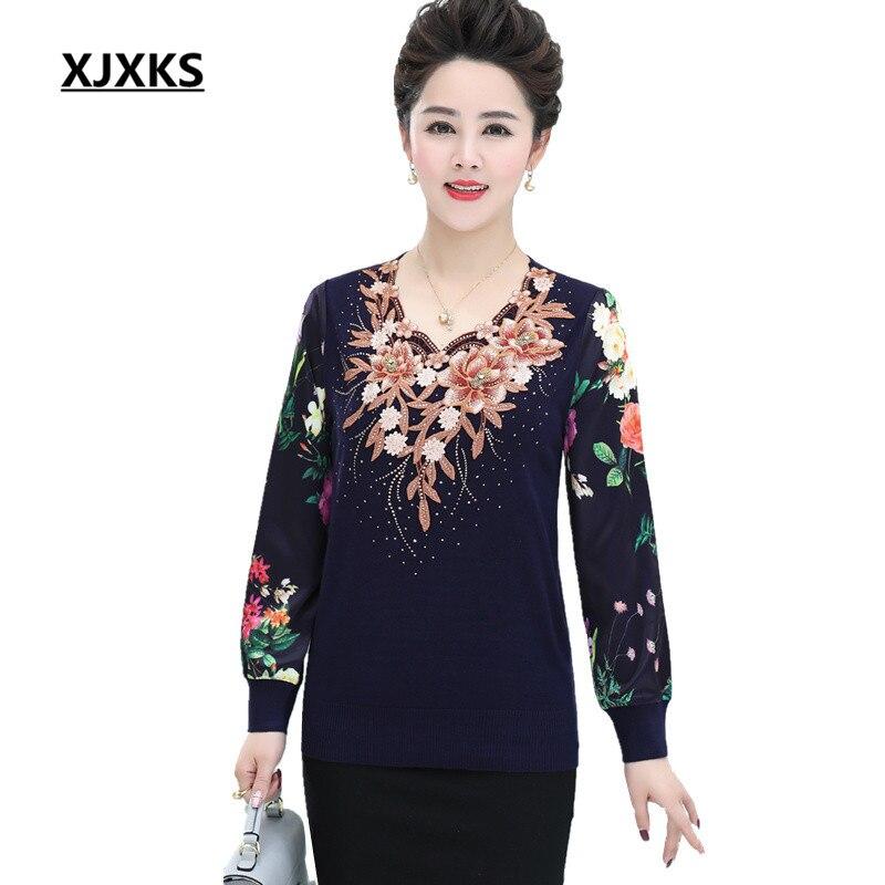 XJXKS Lifelike Sweater Flowers Appliques Women Pullovers Sweaters Plus Size Beading Decoration Casual Soft Oversized Sweater