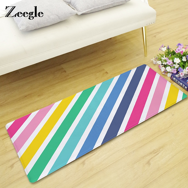 Zeegle Rainbow Door Mat Kitchen Carpet Non-slip Bath Mat Sofa Beside Rug Kid Room Decor Carpet Entrance Area Rug Doormats