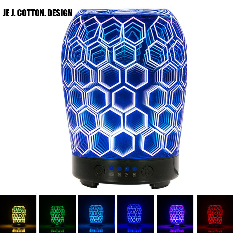 3D Glass Aroma Diffuser Aromatherapy Humidifier for Home Car Air Essential Oil Diffuser Mist Maker Fogger Colorful Night Light 7 colors leds night light 3d glass humidifier home essential oil diffuser aromatherapy air purifier 2018 new