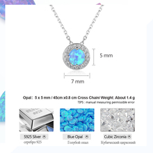 Genuine 925 Sterling Silver Round Blue Fire Opal Pendants Necklaces Cubic Zirconia (3 colors)