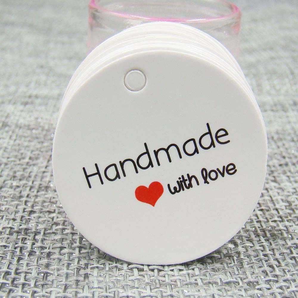 1,18 pulgadas Blanco/etiquetas de papel de impresión kraft stock 100 Uds etiqueta hecha a mano con etiqueta de papel de amor para caja de regalo DIY favores hechos a mano