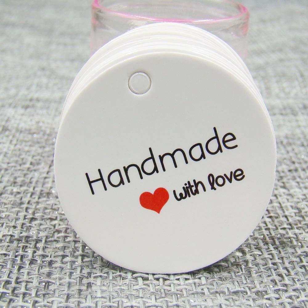 1.18inch White/ Kraft Print Paper Tags Stock  100PCS Hand Made Tag With Love Paper Tag For  DIY Gift  Box Handmade Favors