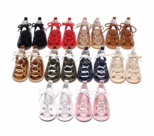 06a7d43bbc43 50 pairs lot New arrived Summer infant Gladiator sandals 10 colors Hot sale  Pu leather